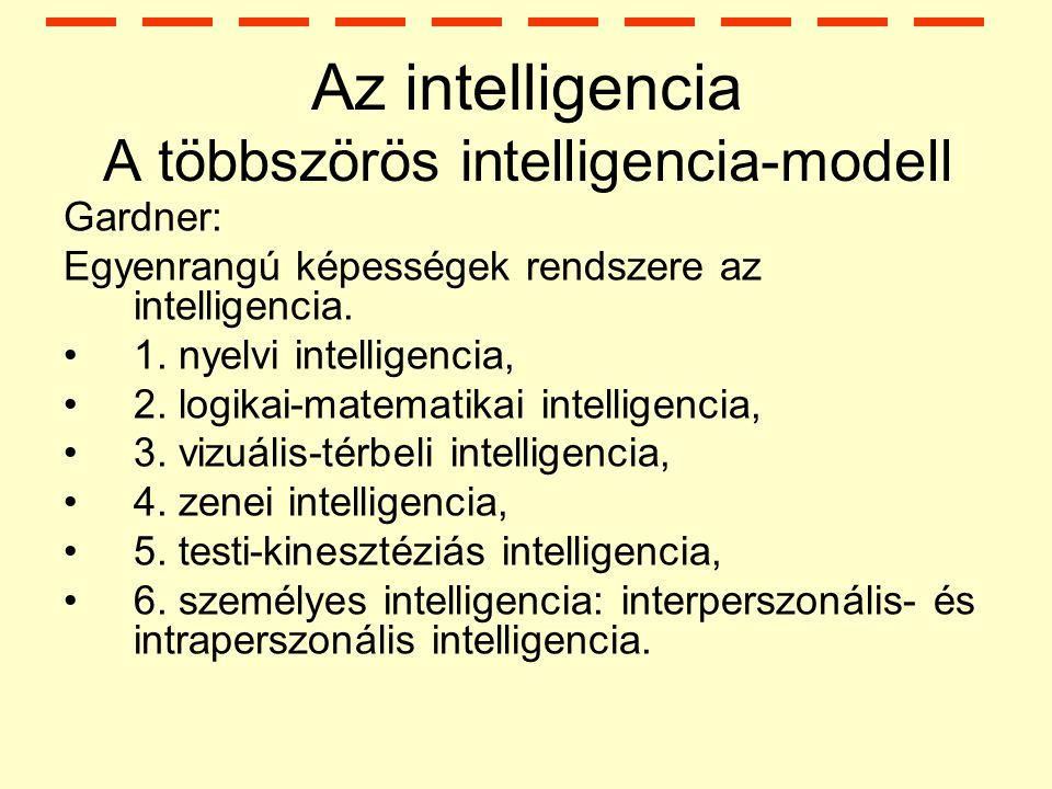 Az intelligencia A többszörös intelligencia-modell Gardner: Egyenrangú képességek rendszere az intelligencia.