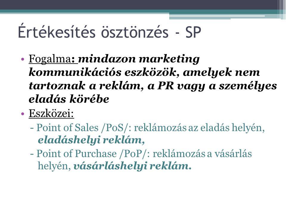 Értékesítés ösztönzés - SP Fogalma: mindazon marketing kommunikációs eszközök, amelyek nem tartoznak a reklám, a PR vagy a személyes eladás körébe Esz