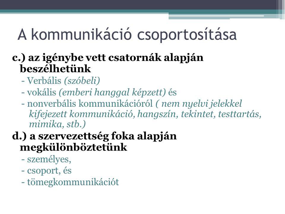 A kommunikáció csoportosítása c.) az igénybe vett csatornák alapján beszélhetünk - Verbális (szóbeli) - vokális (emberi hanggal képzett) és - nonverbá