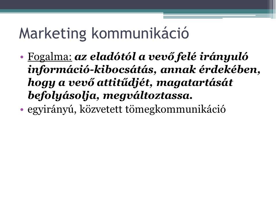 Marketing kommunikáció Fogalma: az eladótól a vevő felé irányuló információ-kibocsátás, annak érdekében, hogy a vevő attitűdjét, magatartását befolyás