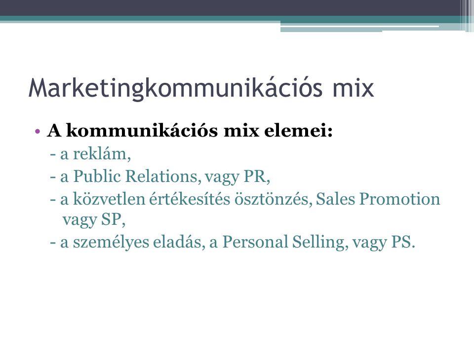 Marketingkommunikációs mix A kommunikációs mix elemei: - a reklám, - a Public Relations, vagy PR, - a közvetlen értékesítés ösztönzés, Sales Promotion