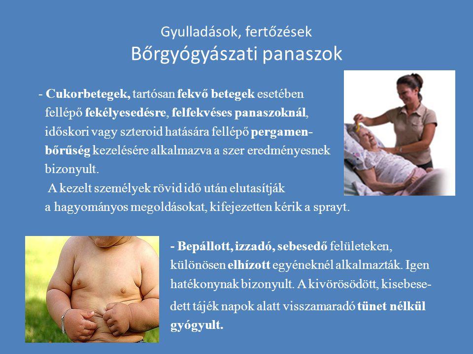 Gyulladások, fertőzések Bőrgyógyászati panaszok - Cukorbetegek, tartósan fekvő betegek esetében fellépő fekélyesedésre, felfekvéses panaszoknál, idősk