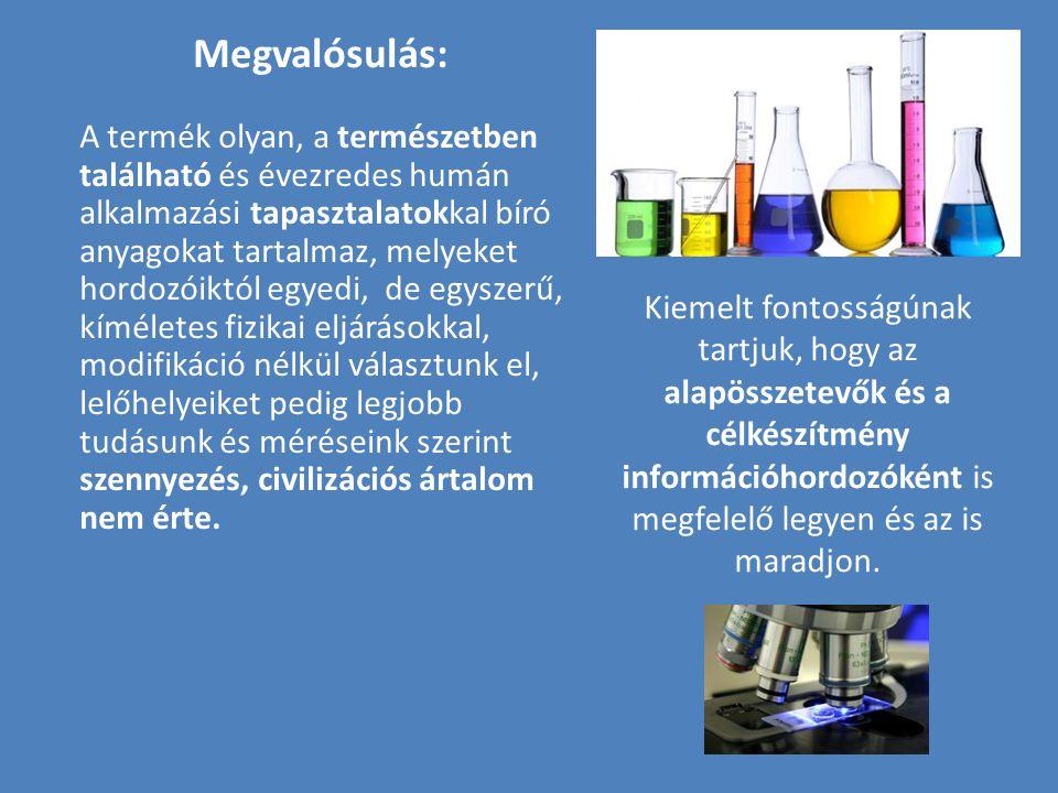 Megvalósulás: A termék olyan, a természetben található és évezredes humán alkalmazási tapasztalatokkal bíró anyagokat tartalmaz, melyeket hordozóiktól