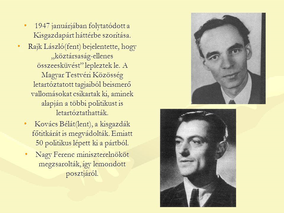 Az egypárti diktatúra kiépítése Az új miniszterelnök Dinnyés Lajos lett (kisgazda).Az új miniszterelnök Dinnyés Lajos lett (kisgazda).