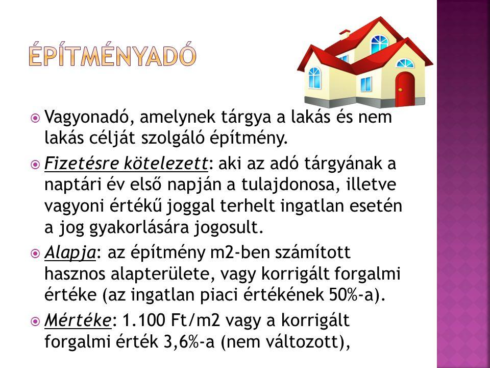  Vagyonadó, amelynek tárgya a lakás és nem lakás célját szolgáló építmény.