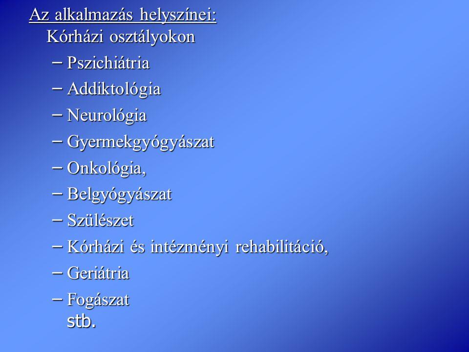 Az alkalmazás helyszínei: Kórházi osztályokon – Pszichiátria – Addiktológia – Neurológia – Gyermekgyógyászat – Onkológia, – Belgyógyászat – Szülészet