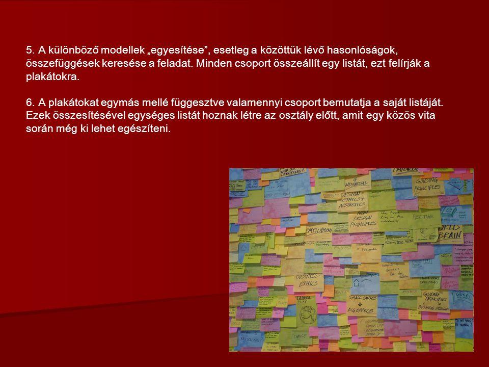 """5. A különböző modellek """"egyesítése"""", esetleg a közöttük lévő hasonlóságok, összefüggések keresése a feladat. Minden csoport összeállít egy listát, ez"""