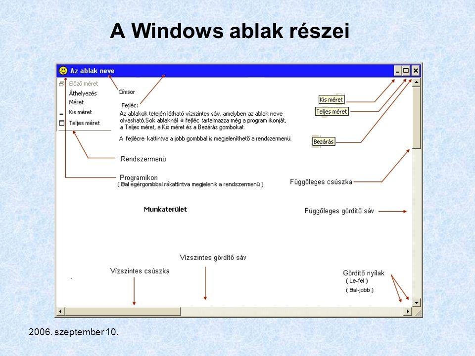 2006. szeptember 10. A Windows ablak részei