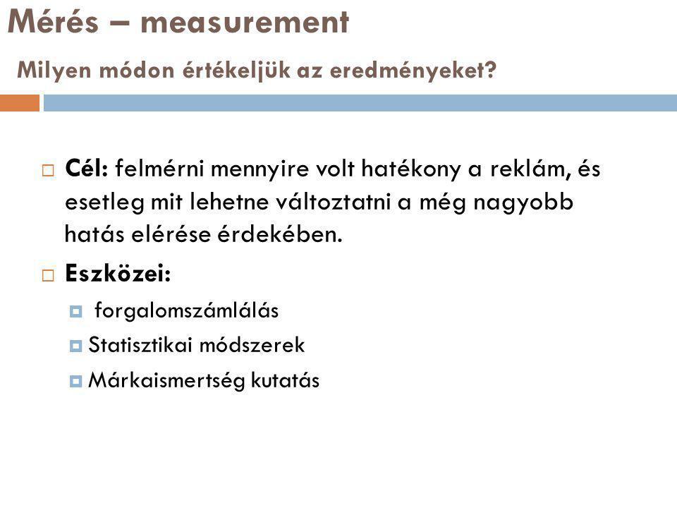 Mérés – measurement Milyen módon értékeljük az eredményeket.