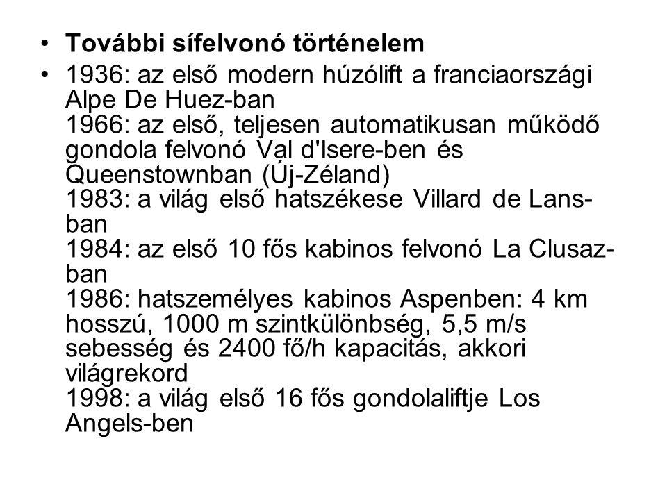 További sífelvonó történelem 1936: az első modern húzólift a franciaországi Alpe De Huez-ban 1966: az első, teljesen automatikusan működő gondola felv