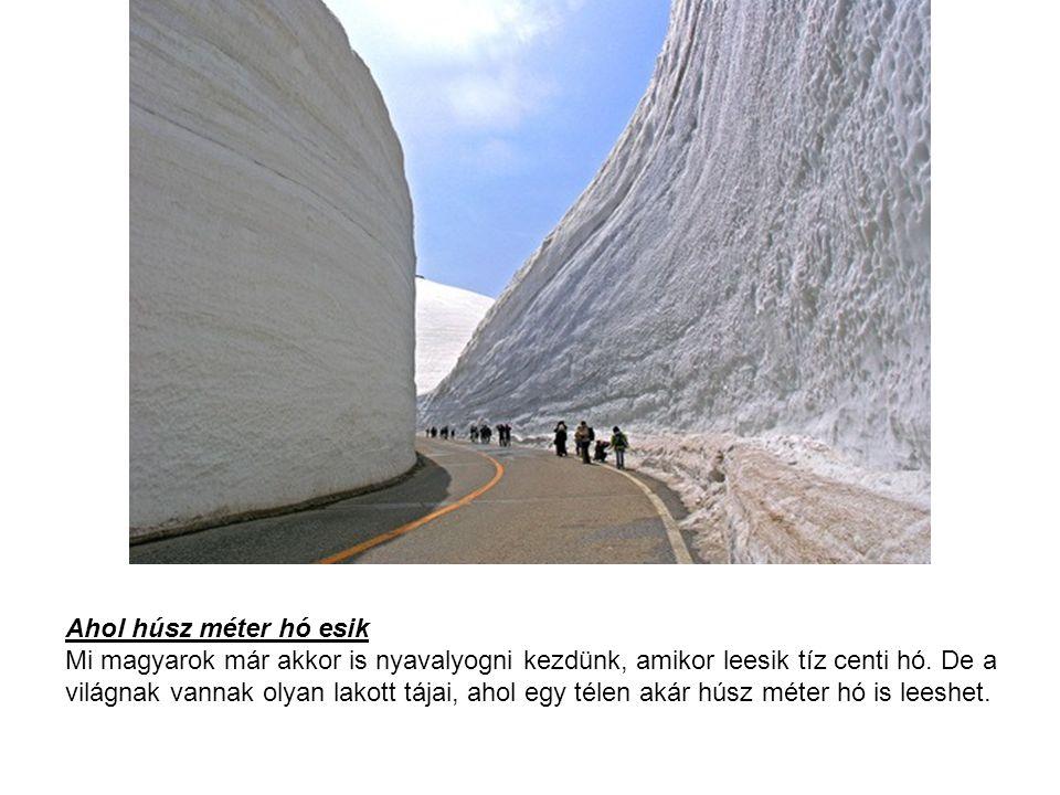 Ahol húsz méter hó esik Mi magyarok már akkor is nyavalyogni kezdünk, amikor leesik tíz centi hó. De a világnak vannak olyan lakott tájai, ahol egy té