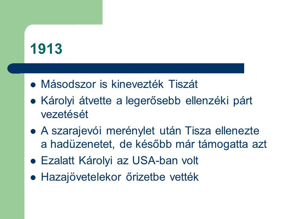1913 Másodszor is kinevezték Tiszát Károlyi átvette a legerősebb ellenzéki párt vezetését A szarajevói merénylet után Tisza ellenezte a hadüzenetet, d