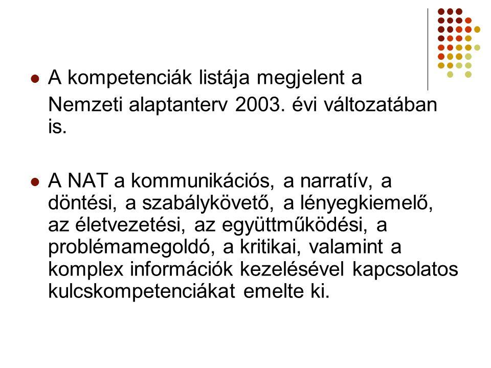 A kompetenciák listája megjelent a Nemzeti alaptanterv 2003.