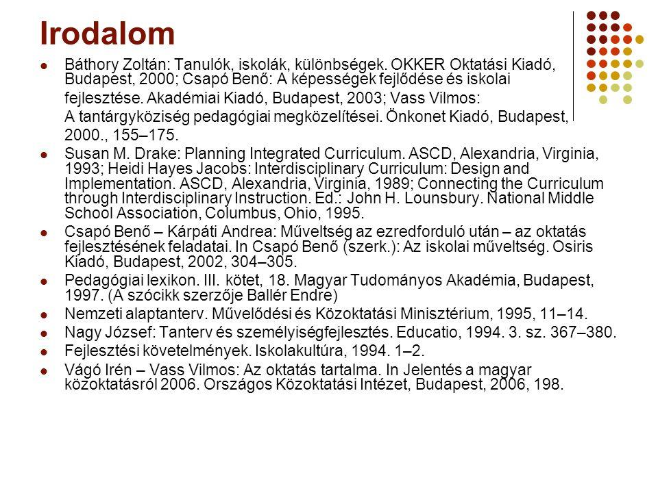 Irodalom Báthory Zoltán: Tanulók, iskolák, különbségek.