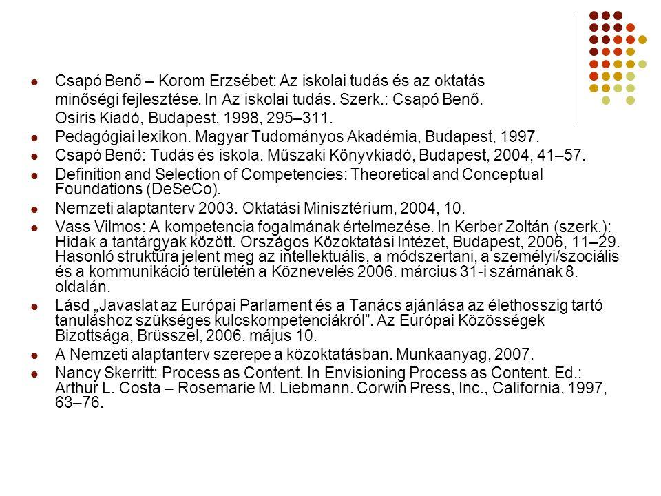 Csapó Benő – Korom Erzsébet: Az iskolai tudás és az oktatás minőségi fejlesztése.