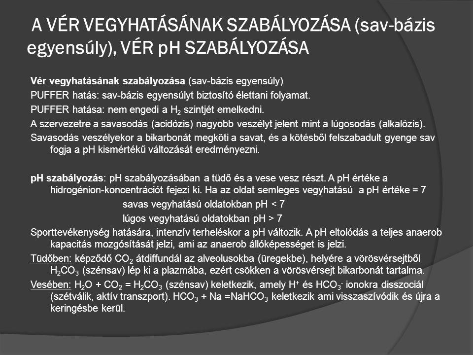 A VÉR VEGYHATÁSÁNAK SZABÁLYOZÁSA (sav-bázis egyensúly), VÉR pH SZABÁLYOZÁSA Vér vegyhatásának szabályozása (sav-bázis egyensúly) PUFFER hatás: sav-báz