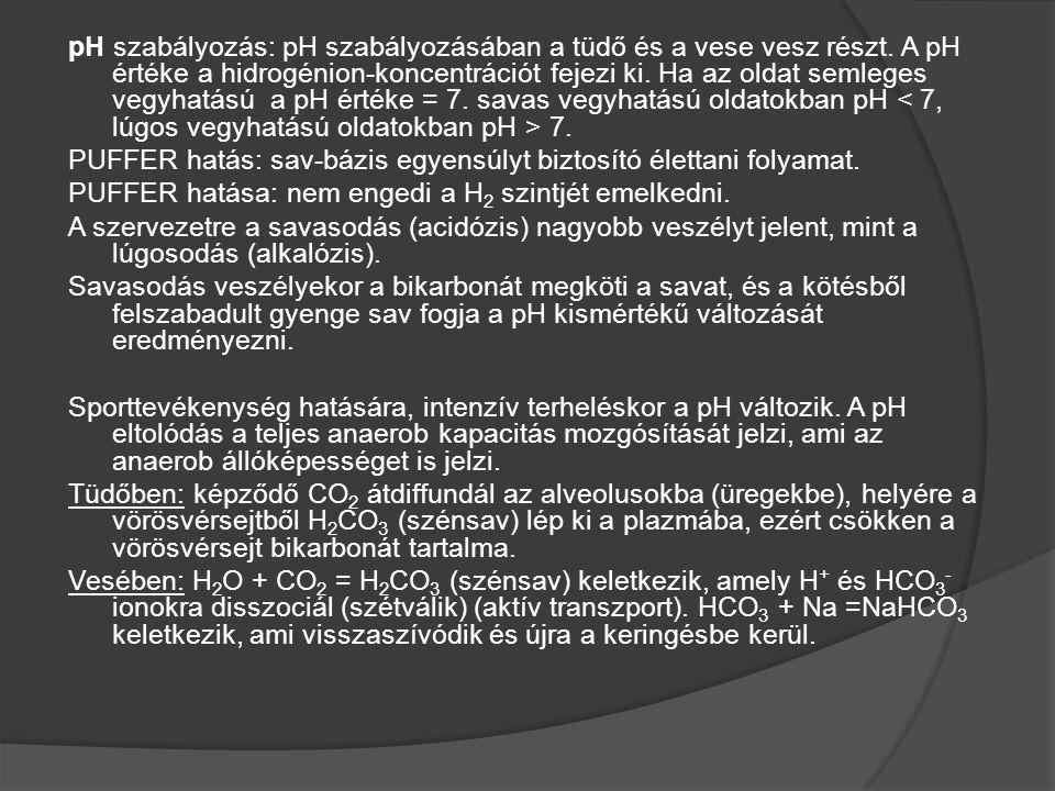 pH szabályozás: pH szabályozásában a tüdő és a vese vesz részt. A pH értéke a hidrogénion-koncentrációt fejezi ki. Ha az oldat semleges vegyhatású a p