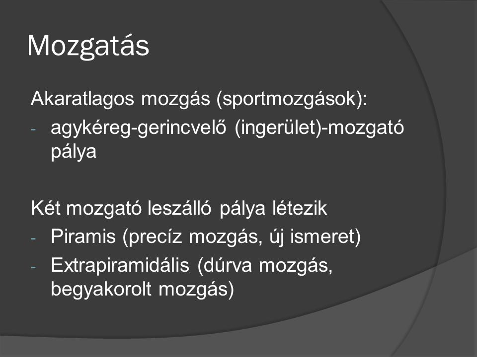 Mozgatás Akaratlagos mozgás (sportmozgások): - agykéreg-gerincvelő (ingerület)-mozgató pálya Két mozgató leszálló pálya létezik - Piramis (precíz mozgás, új ismeret) - Extrapiramidális (dúrva mozgás, begyakorolt mozgás)