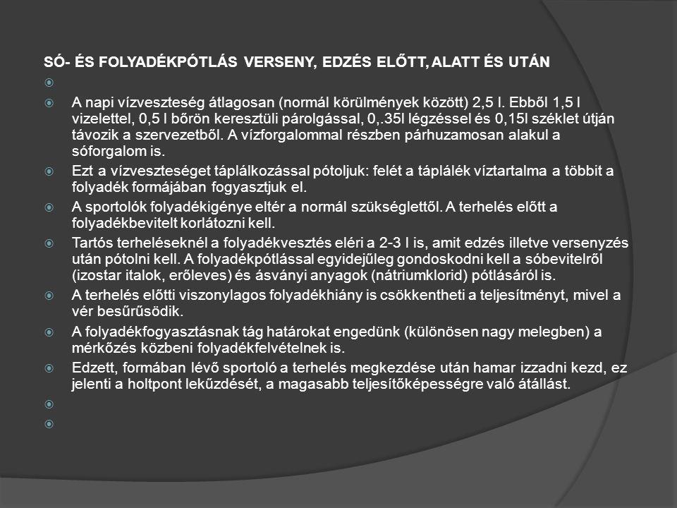 SÓ- ÉS FOLYADÉKPÓTLÁS VERSENY, EDZÉS ELŐTT, ALATT ÉS UTÁN   A napi vízveszteség átlagosan (normál körülmények között) 2,5 l.