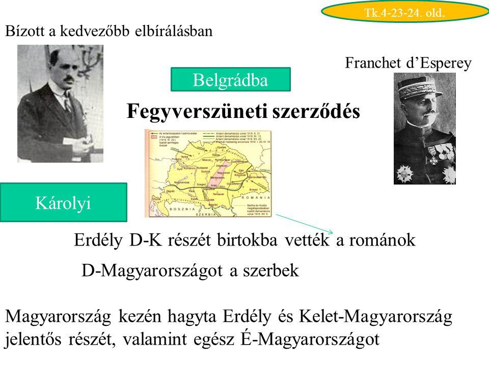 Károlyi Bízott a kedvezőbb elbírálásban Belgrádba Franchet d'Esperey Fegyverszüneti szerződés Erdély D-K részét birtokba vették a románok D-Magyarországot a szerbek Magyarország kezén hagyta Erdély és Kelet-Magyarország jelentős részét, valamint egész É-Magyarországot Tk.4-23-24.