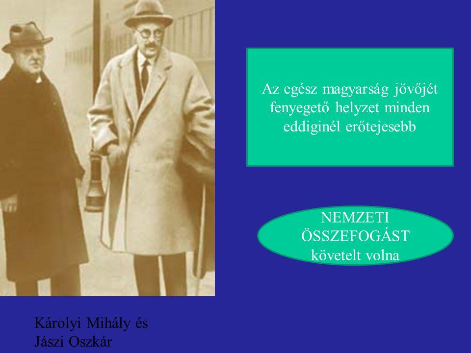 Károlyi Mihály és Jászi Oszkár Az egész magyarság jövőjét fenyegető helyzet minden eddiginél erőtejesebb NEMZETI ÖSSZEFOGÁST követelt volna