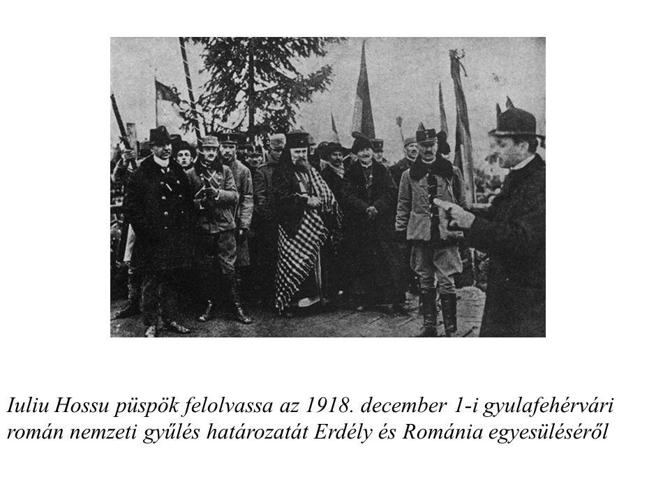 Iuliu Hossu püspök felolvassa az 1918.