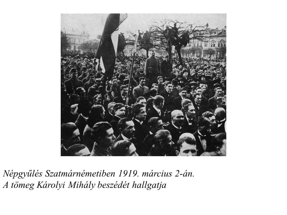 Népgyűlés Szatmárnémetiben 1919. március 2-án. A tömeg Károlyi Mihály beszédét hallgatja