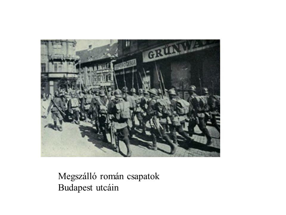Megszálló román csapatok Budapest utcáin