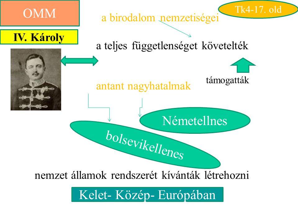 OMM Kelet- Közép- Európában a birodalom nemzetiségei a teljes függetlenséget követelték nemzet államok rendszerét kívánták létrehozni antant nagyhatalmak Németellnes bolsevikellenes IV.