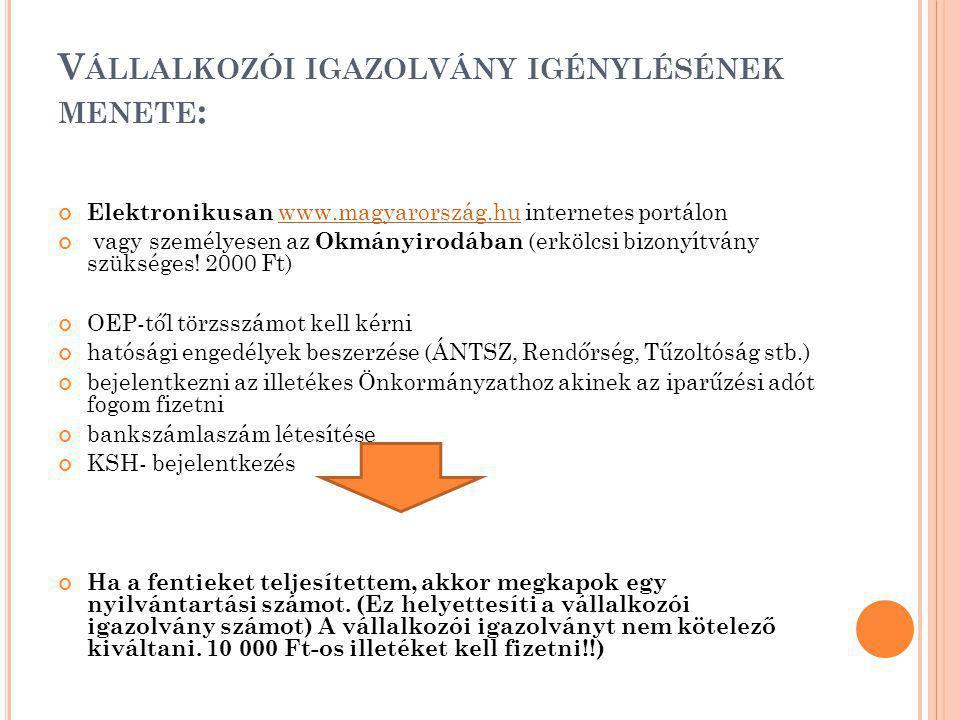 V ÁLLALKOZÓI IGAZOLVÁNY IGÉNYLÉSÉNEK MENETE : Elektronikusan www.magyarország.hu internetes portálonwww.magyarország.hu vagy személyesen az Okmányirodában (erkölcsi bizonyítvány szükséges.