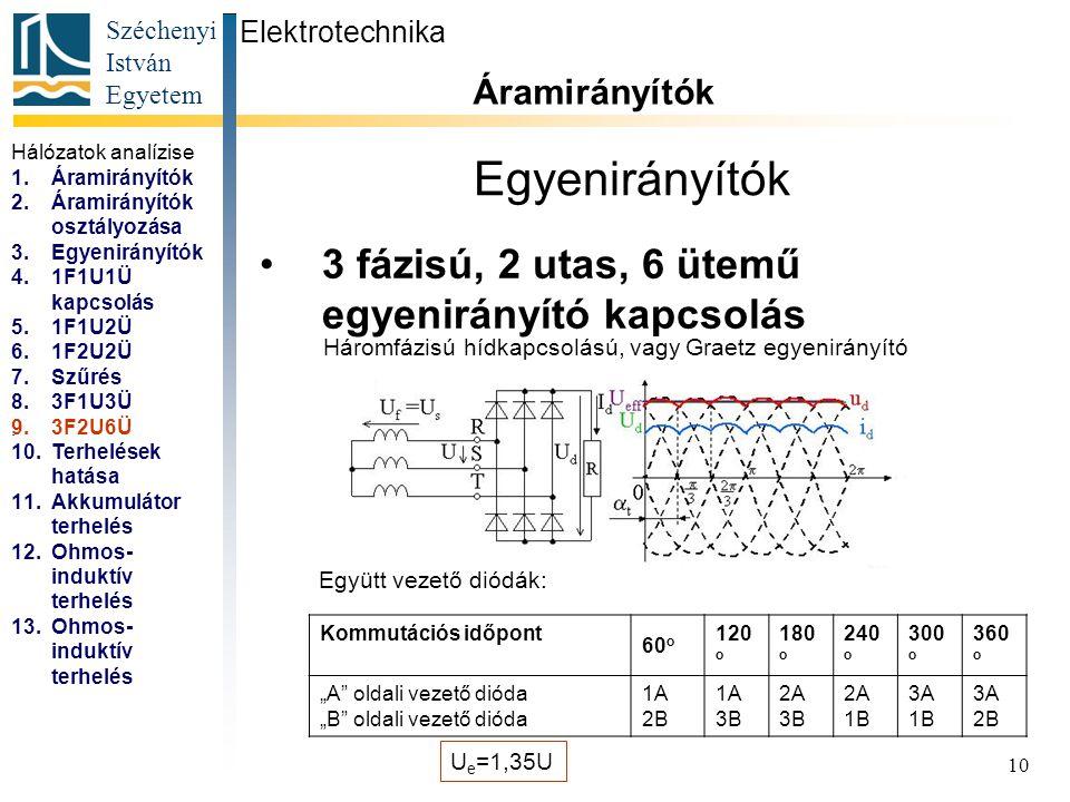 Széchenyi István Egyetem 10 Egyenirányítók 3 fázisú, 2 utas, 6 ütemű egyenirányító kapcsolás Elektrotechnika Áramirányítók... Háromfázisú hídkapcsolás
