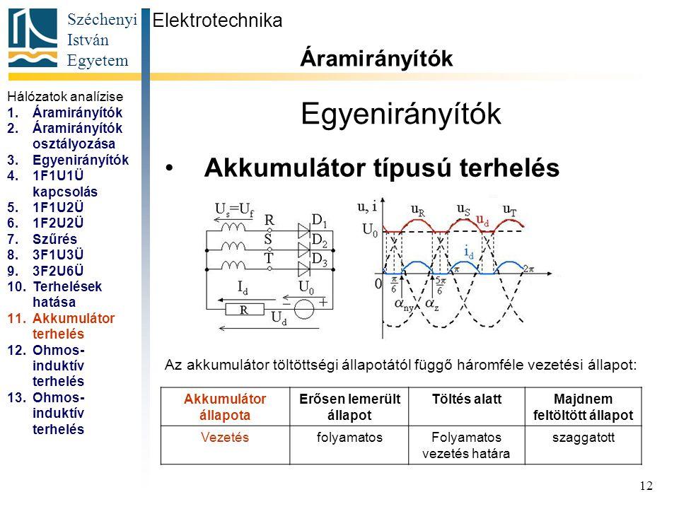 Széchenyi István Egyetem 12 Egyenirányítók Akkumulátor típusú terhelés Elektrotechnika Áramirányítók... Az akkumulátor töltöttségi állapotától függő h