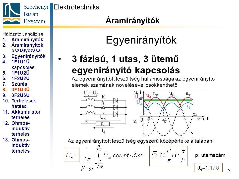 Széchenyi István Egyetem 9 Egyenirányítók 3 fázisú, 1 utas, 3 ütemű egyenirányító kapcsolás Elektrotechnika Áramirányítók... Az egyenirányított feszül