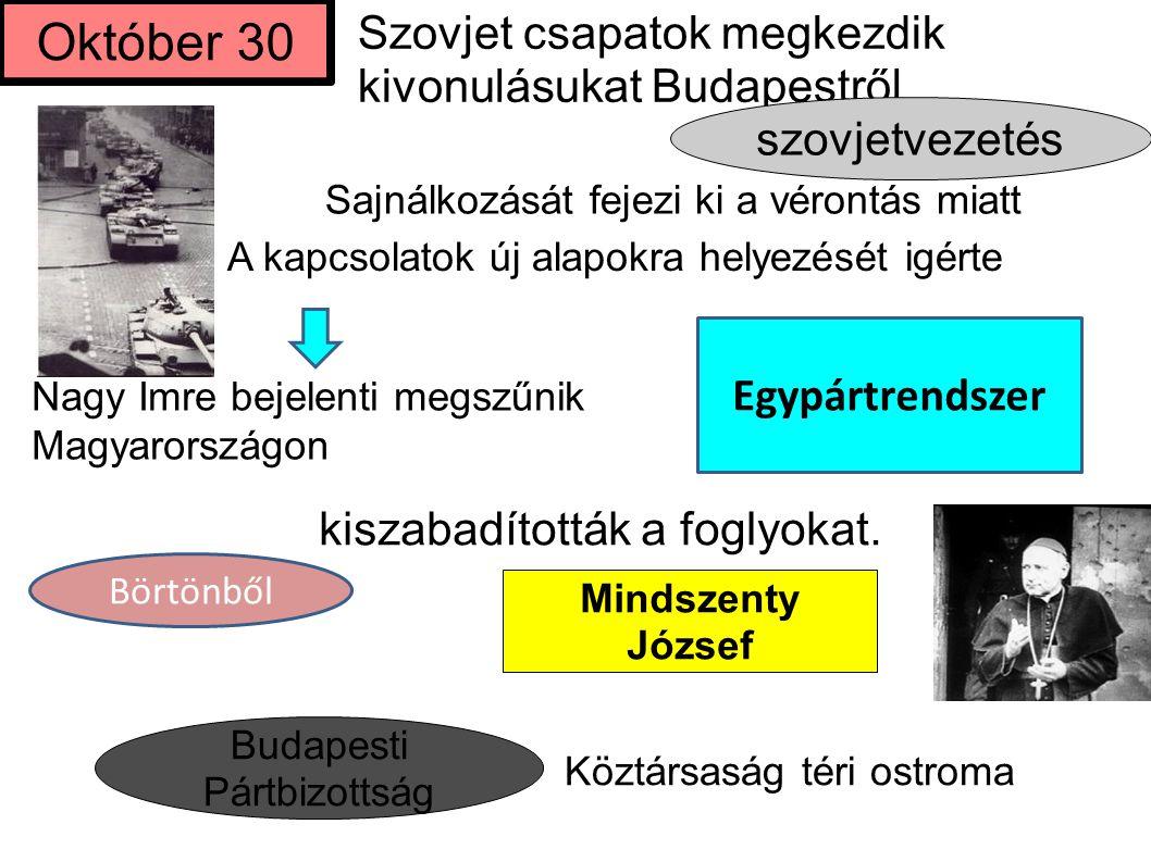kiszabadították a foglyokat. Október 30 Szovjet csapatok megkezdik kivonulásukat Budapestről szovjetvezetés Mindszenty József Budapesti Pártbizottság