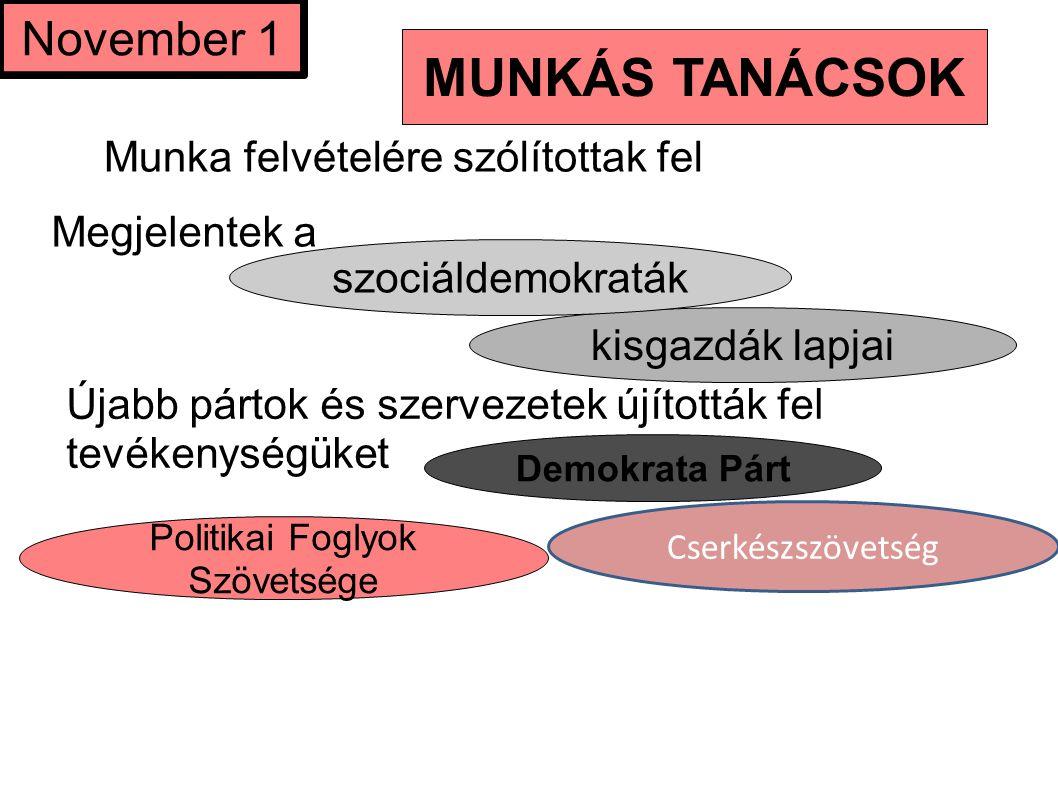 Munka felvételére szólítottak fel Politikai Foglyok Szövetsége kisgazdák lapjai November 1 Újabb pártok és szervezetek újították fel tevékenységüket M