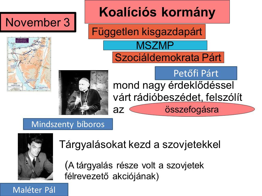 Szociáldemokrata Párt MSZMP Független kisgazdapárt ( A tárgyalás része volt a szovjetek félrevezető akciójának) összefogásra November 3 Tárgyalásokat