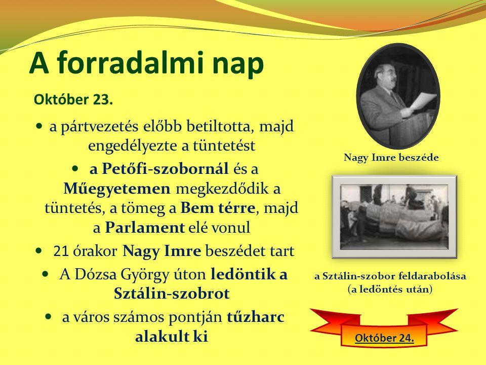 A forradalmi nap a pártvezetés előbb betiltotta, majd engedélyezte a tüntetést a Petőfi-szobornál és a Műegyetemen megkezdődik a tüntetés, a tömeg a B