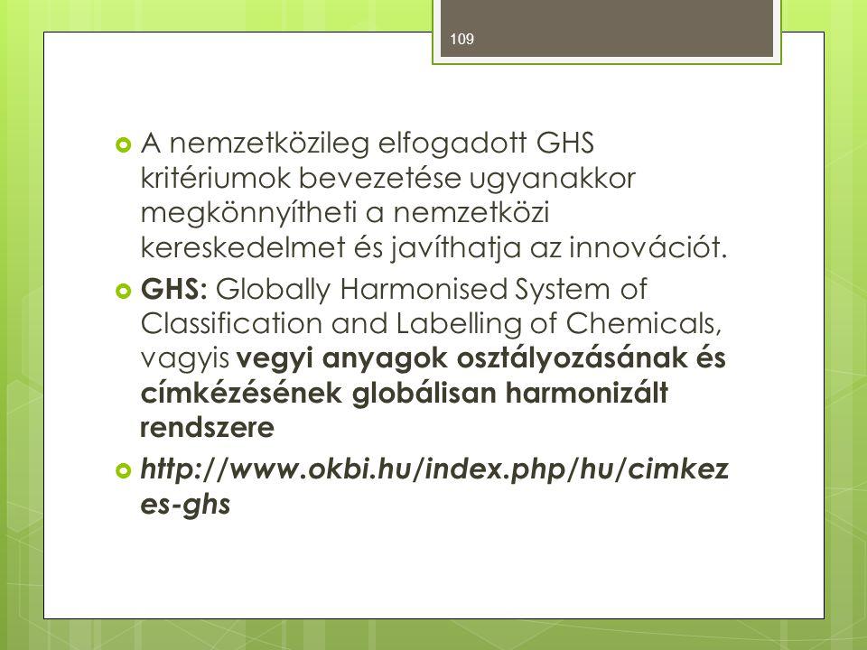  A nemzetközileg elfogadott GHS kritériumok bevezetése ugyanakkor megkönnyítheti a nemzetközi kereskedelmet és javíthatja az innovációt.  GHS: Globa