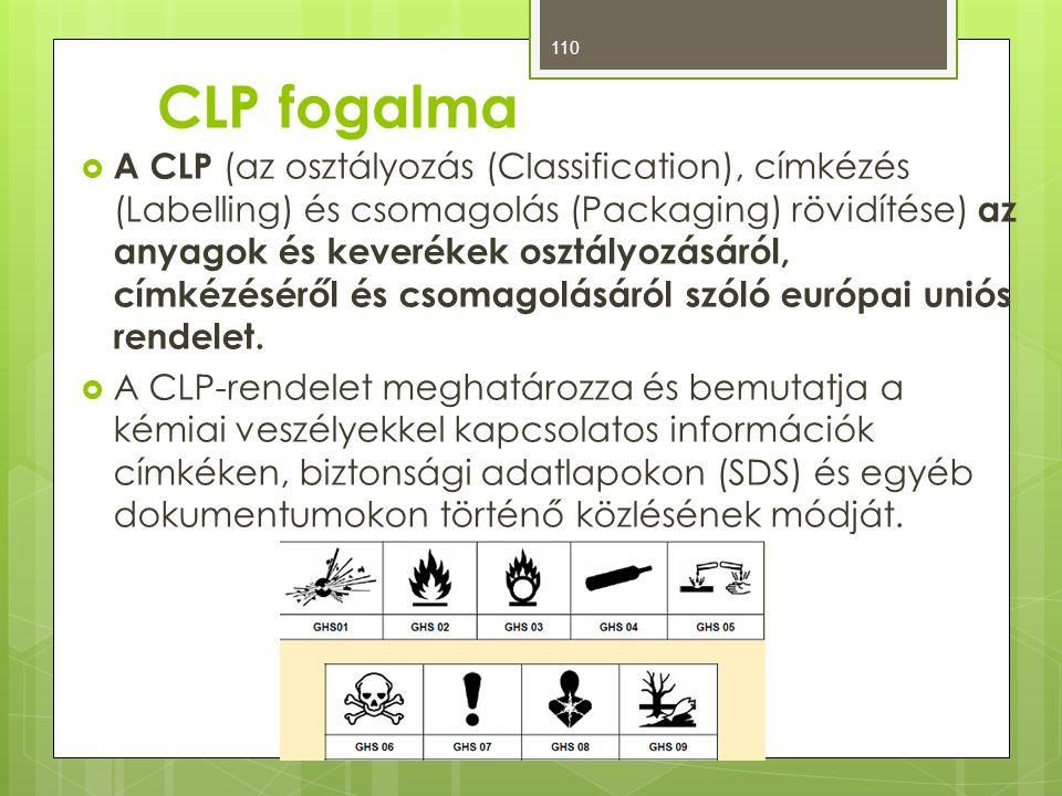 CLP fogalma  A CLP (az osztályozás (Classification), címkézés (Labelling) és csomagolás (Packaging) rövidítése) az anyagok és keverékek osztályozásár