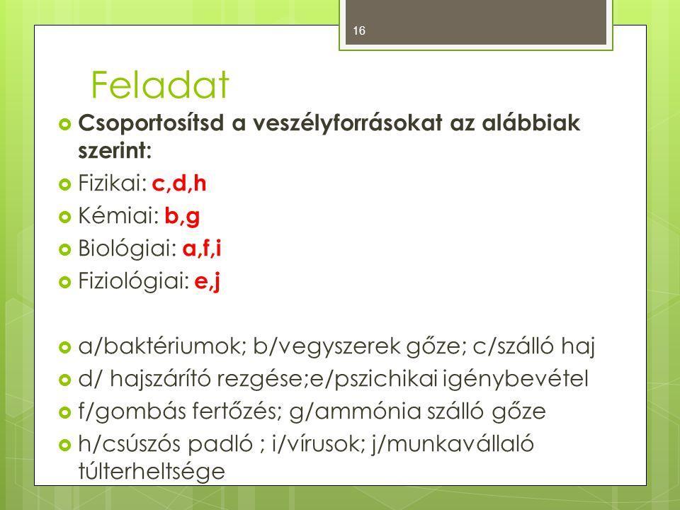 Feladat  Csoportosítsd a veszélyforrásokat az alábbiak szerint:  Fizikai: c,d,h  Kémiai: b,g  Biológiai: a,f,i  Fiziológiai: e,j  a/baktériumok; b/vegyszerek gőze; c/szálló haj  d/ hajszárító rezgése;e/pszichikai igénybevétel  f/gombás fertőzés; g/ammónia szálló gőze  h/csúszós padló ; i/vírusok; j/munkavállaló túlterheltsége 16