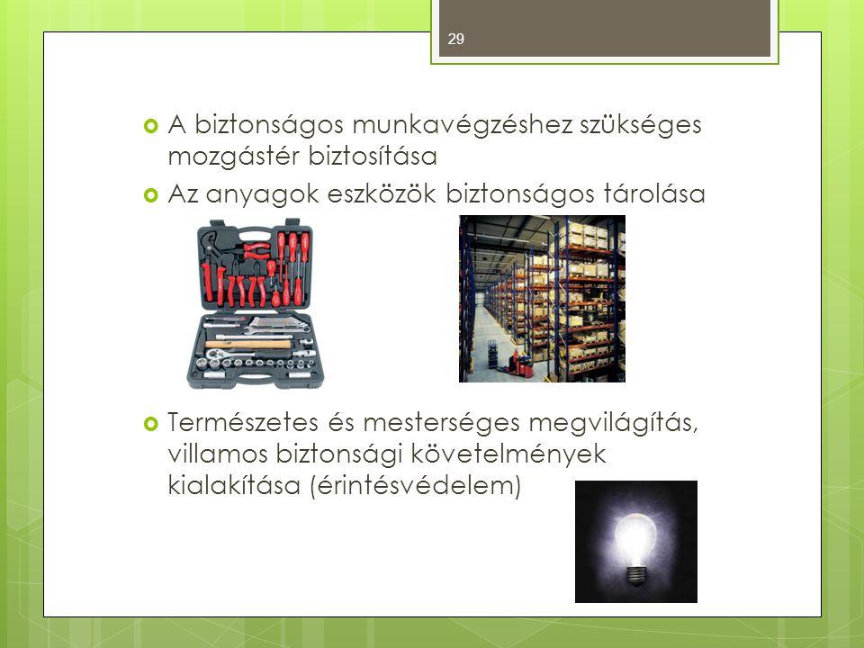  A biztonságos munkavégzéshez szükséges mozgástér biztosítása  Az anyagok eszközök biztonságos tárolása  Természetes és mesterséges megvilágítás, villamos biztonsági követelmények kialakítása (érintésvédelem) 29