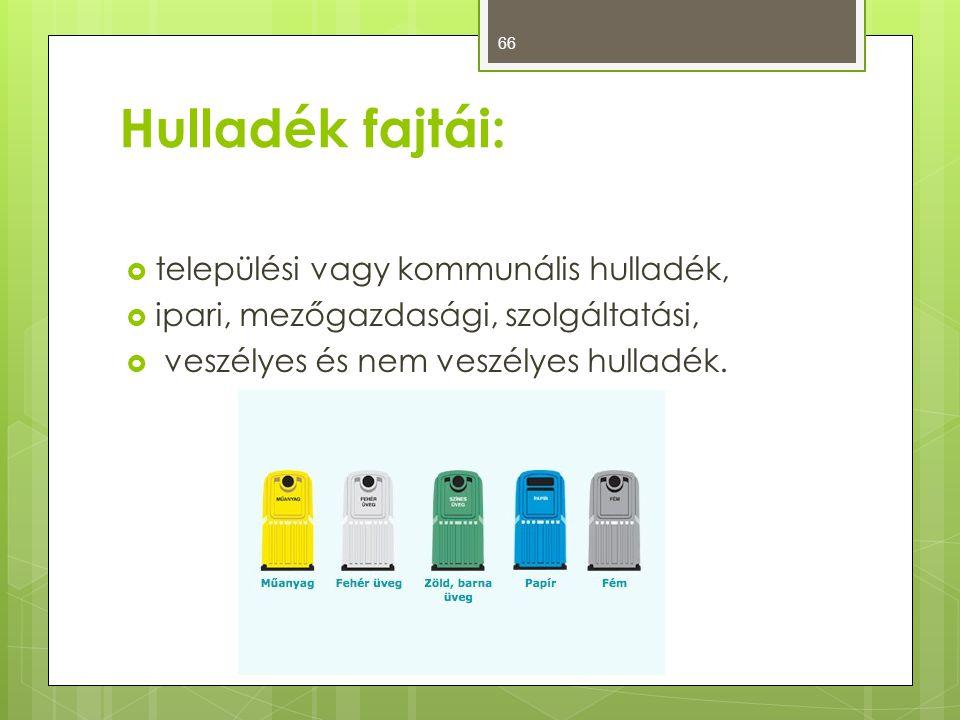Hulladék fajtái:  települési vagy kommunális hulladék,  ipari, mezőgazdasági, szolgáltatási,  veszélyes és nem veszélyes hulladék. 66
