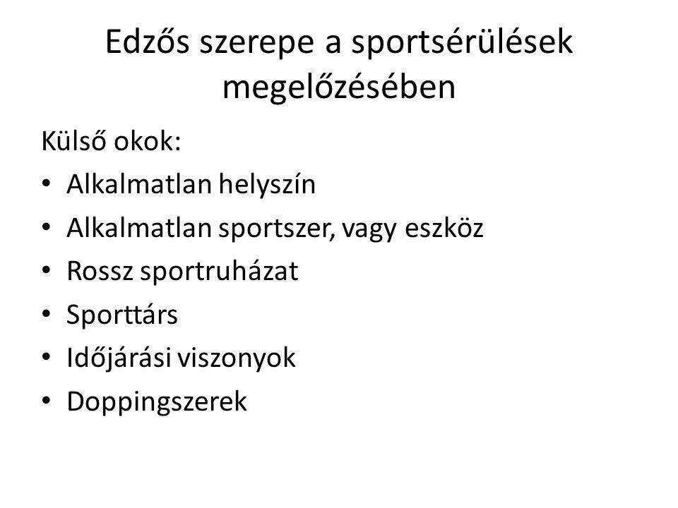 Edzős szerepe a sportsérülések megelőzésében Külső okok: Alkalmatlan helyszín Alkalmatlan sportszer, vagy eszköz Rossz sportruházat Sporttárs Időjárás