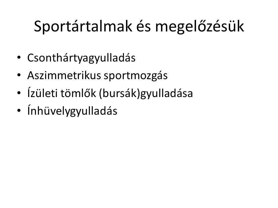 Sportártalmak és megelőzésük Csonthártyagyulladás Aszimmetrikus sportmozgás Ízületi tömlők (bursák)gyulladása Ínhüvelygyulladás