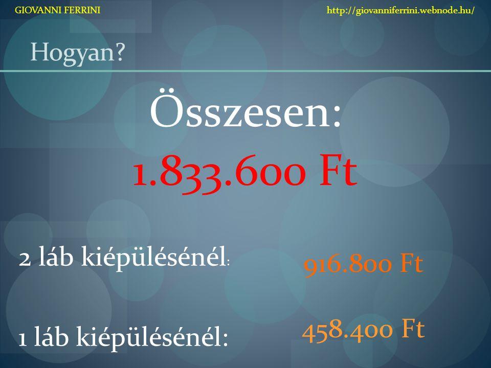 Hogyan? Összesen: 1.833.600 Ft 2 láb kiépülésénél : 1 láb kiépülésénél: 916.800 Ft 458.400 Ft GIOVANNI FERRINI http://giovanniferrini.webnode.hu/