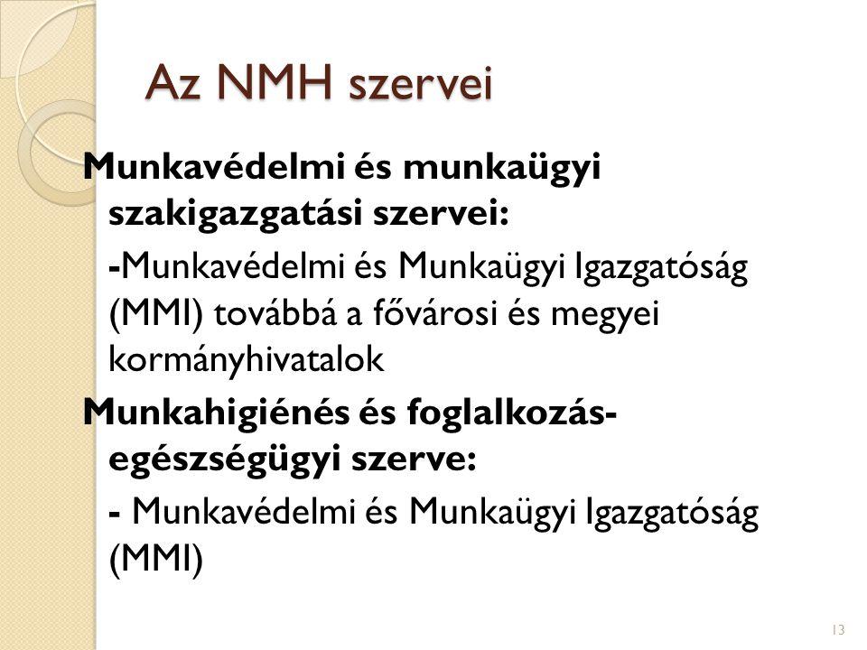 Az NMH szervei Munkavédelmi és munkaügyi szakigazgatási szervei: -Munkavédelmi és Munkaügyi Igazgatóság (MMI) továbbá a fővárosi és megyei kormányhivatalok Munkahigiénés és foglalkozás- egészségügyi szerve: - Munkavédelmi és Munkaügyi Igazgatóság (MMI) 13