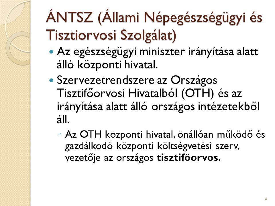 ÁNTSZ (Állami Népegészségügyi és Tisztiorvosi Szolgálat) Az egészségügyi miniszter irányítása alatt álló központi hivatal. Szervezetrendszere az Orszá