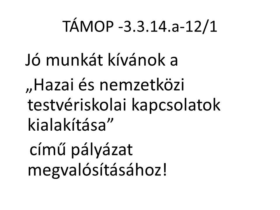 """TÁMOP -3.3.14.a-12/1 Jó munkát kívánok a """"Hazai és nemzetközi testvériskolai kapcsolatok kialakítása"""" című pályázat megvalósításához!"""