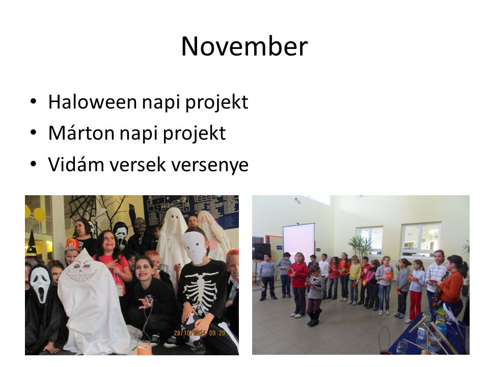 November Haloween napi projekt Márton napi projekt Vidám versek versenye