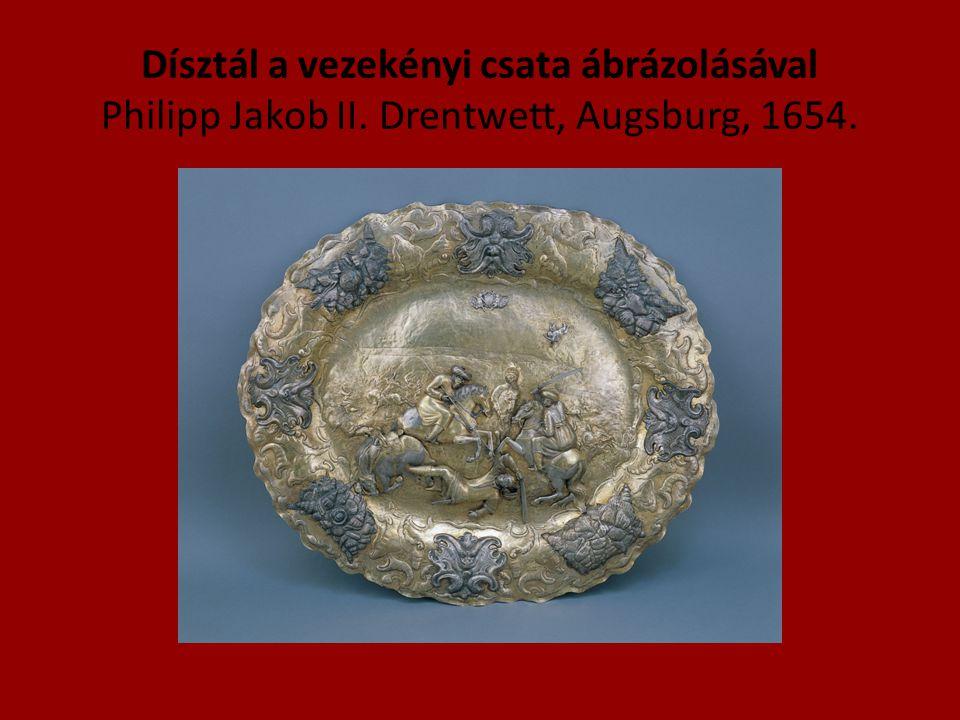 Dísztál a vezekényi csata ábrázolásával Philipp Jakob II. Drentwett, Augsburg, 1654.